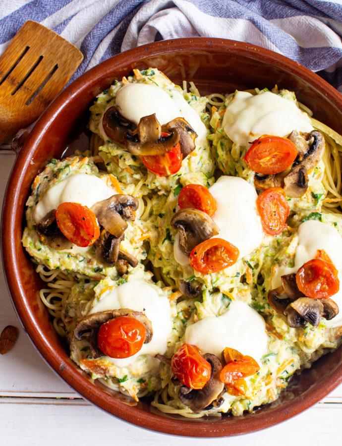 Pasta-Nidos Gratinados con Crema de Calabacín y Almendras