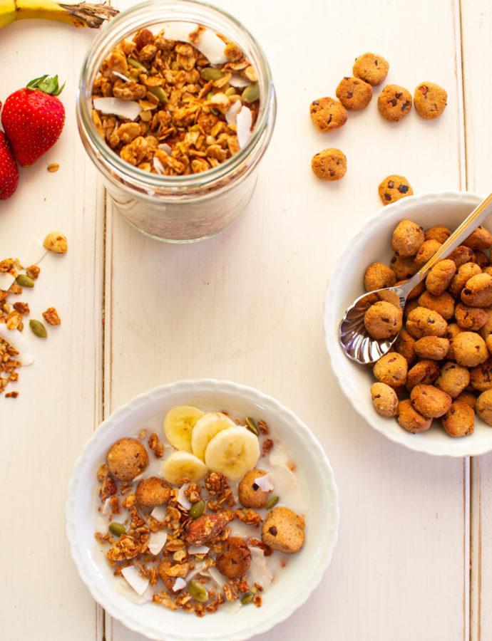 Granola de Crema de Cacahuetes con Mini Cookies
